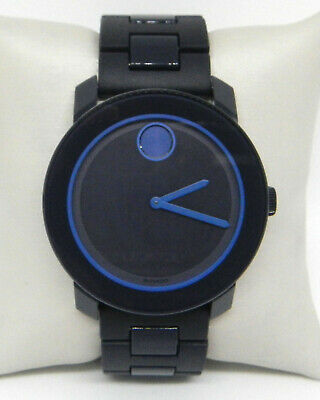 MOVADO BOLD K1 NAVY BLUE SUNRAY DIAL BLUE BAND MEN'S WATCH 3600314 $595.00