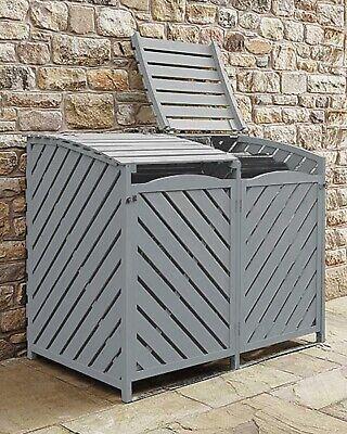 Wooden Wheelie Bin Store Storage Grey Garden Storage Lockable Rubbish Cover