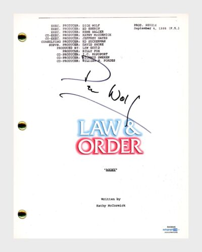 Dick Wolf Signed Autographed Law & Order Agony Episode Script ACOA COA