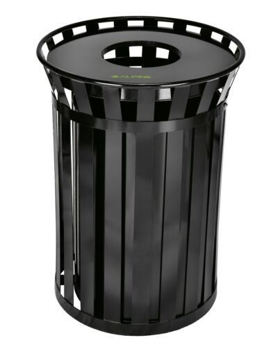 Alpine Industries 38 Gallon Outdoor Metal Waste Receptacle Commercial Trash Can