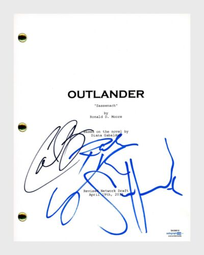 Outlander Cast Signed Pilot Script Sam Heughan Caitriona Balfe x4 ACOA COA