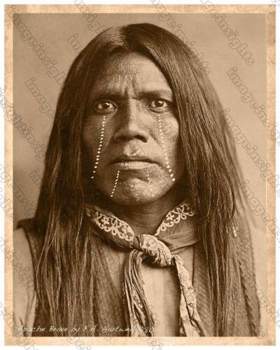 APACHE WARRIOR 1880 FA Hartwell Tombstone Arizona 8x10 Restoration Photoprint RP