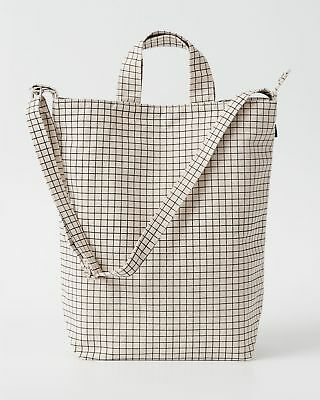 NEW BAGGU Duck Bag Canvas Shopper Tote w/ Strap & Pocket Natural Grid, used for sale  Honolulu