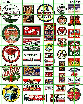 4016 DAVE'S DECALS HO SET ASSORTED GAS/OIL ADVERTISING SIGNS VARIOUS SIZES