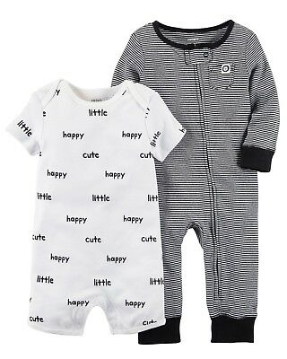 Carter's Baby Boys 2-Piece Jumpsuit & Romper Set Newborn to 9 Months Sleepers Boys 2 Piece Romper