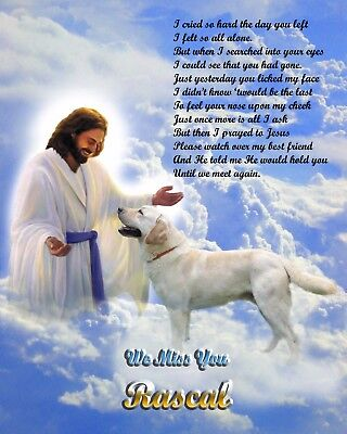Yellow Lab Memorial Picture w/Jesus/Poem Personalized w/Dog's Name-Pet Loss 3