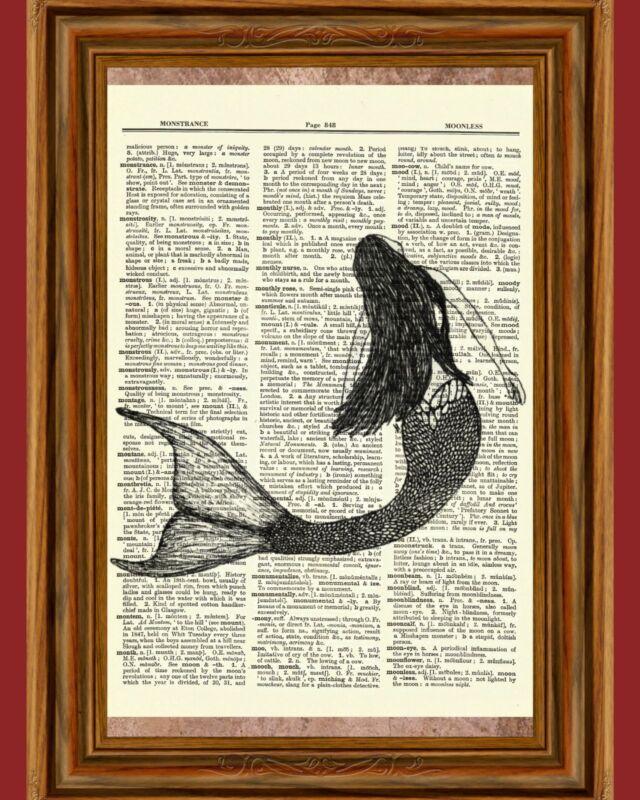 Mermaid Dictionary Art Print Picture Book Nautical Ocean Under Water Poster