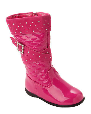 GIRLS FUSCHIA PINK PATENT QUILTED DIAMANTE KNEE HIGH WINTER BOOTS KIDS SIZE 5-12 - Childrens Pink Patent Boots