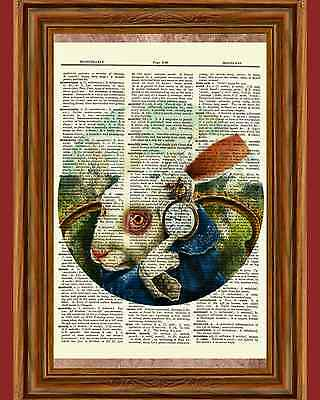 Alice in Wonderland White Rabbit Clock Dictionary Art Print Book Page Picture - Alice In Wonderland White Rabbit Clock
