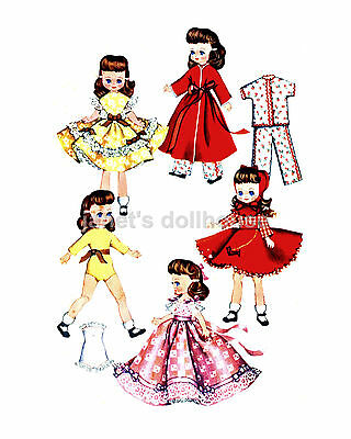 "54 Doll outfits to sew! LOT-8 Vintage Patterns CD 7-8"",Betsy McCall, Riley, more"