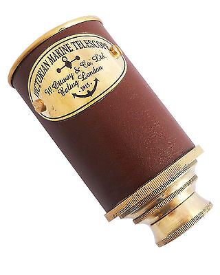 8''NAUTICAL LEATHER TELESCOPE ANTIQUE NAVY BRASS PIRATE Vintage SPYGLASS Scope
