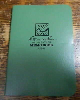Pocket Notebook Rite In The Rain All-weather 3.5 X 5 Green 954 New Other