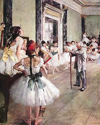 Degas Ballerina Paintings - Degas The Ballerina Dance Class Ballet Painting Real Canvas Giclee Art Print