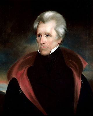 Us President Andrew Jackson Portrait Painting History Real Canvas Art Print