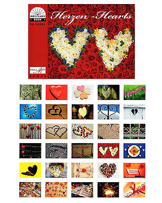 Postkartenbuch Herzen,  30 Postkarten Herzen (Hochzeitsspiele, Hochzeit, Liebe)