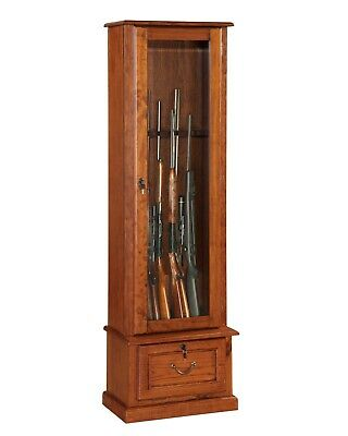 Wooden 8 Gun Cabinet Safe American Furniture Rifle Shotgun Firearms Storage Lock