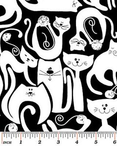 Benartex Holidays 6386 12 Black Tuxedo Cat BTY Cotton Fabric FREE US SHIPPING