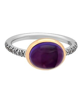 Mimi Milano 18k Rose Weiss Gold Amethyst und Diamanten Ring (Rose Gold Und Weißgold Ringe)