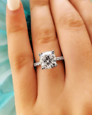 Natural 3.70 Ct Cushion Cut 3 Sided Micro Pave Diamond Engagement Ring H VS1 14K