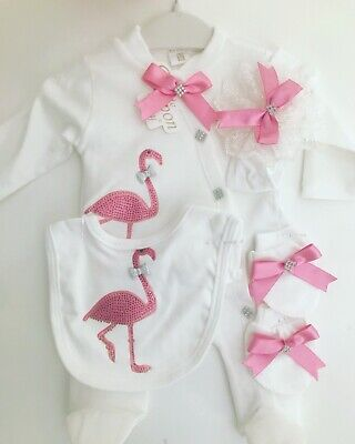 Baby Girl Showers (5 PIECE FLAMINGO BABY GIRL SET BABY SHOWER GIFT CLOTHES ROMPER OUTFIT SET)