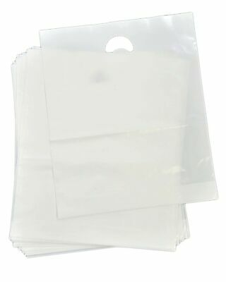 60 Clear Heavy Duty Patch Handle Plastic Carrier Bags 15