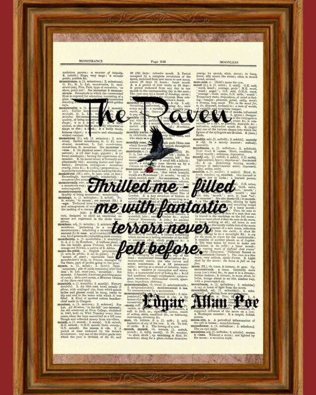Edgar Allan Poe Dictionary Raven Story Art Print Book Page Quote Picture Poster