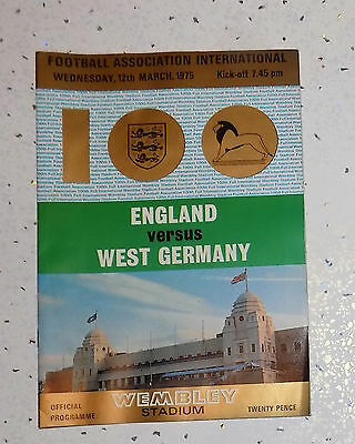 England V West Germany Program played at Wembley (100th International) 12 3 1975