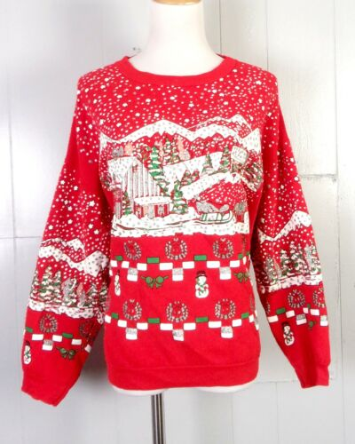 vtg 80s 90s Bijo BUSY Ugly Christmas Sweater Party Sweatshirt Puffy Paint sz L