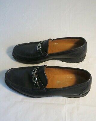 Salvatore Ferragamo Men's Gancini Loafers Shoes Black Leather Sz 10