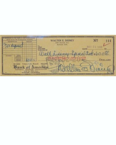 Walt Disney Reproduction Cancelled Check and 8 x 10 Photo