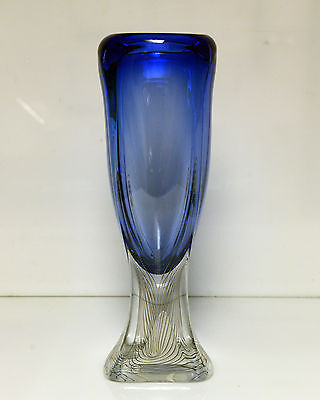Art Glass Vase Blue 14 1/2