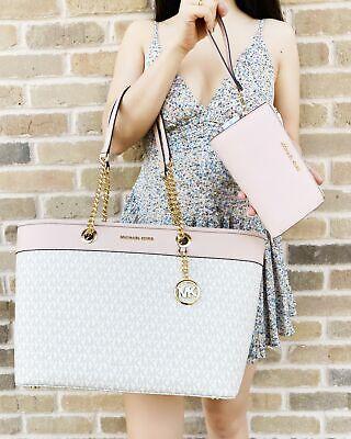 Michael Kors Shania Tote Vanilla MK Pink Tote + Double Zip Wristlet Wallet