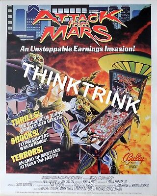 Attack From Mars Pinball Poster Bally AFM 1995