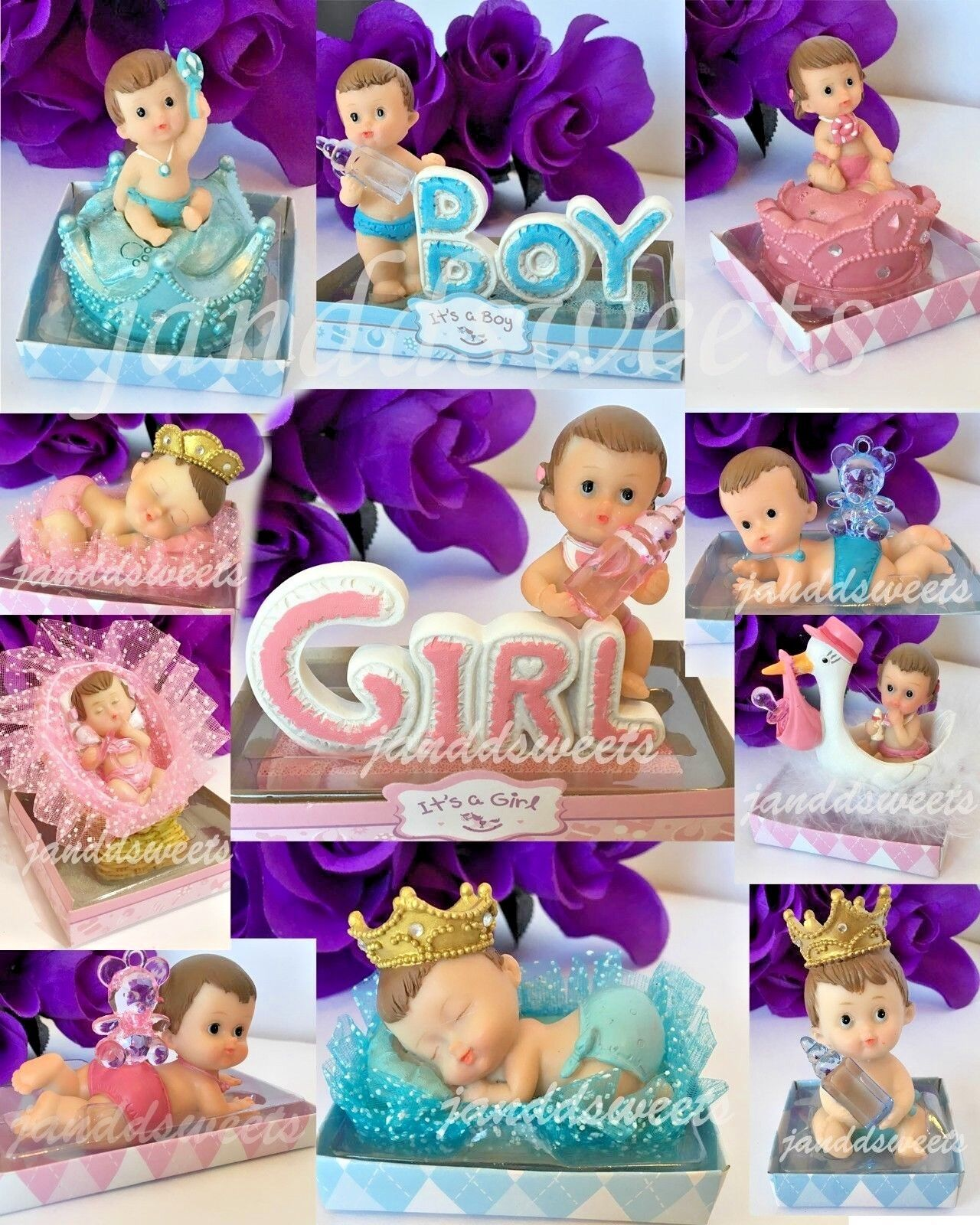 1-Baby Shower Girl Boy Cake Topper Decoration Party Favors P