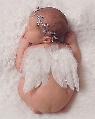 Girls boys Newborn Baby White Angel Wings Leaf Headband Photo Photography Prop