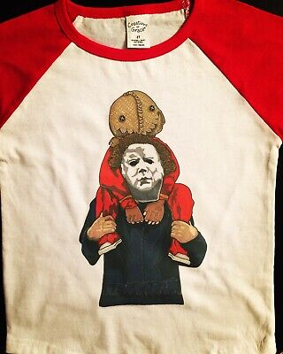 NW YOUTH KIDS GIRLS BOYS HALLOWEEN MICHAEL MYERS FUNNY COTTON PRE-WASHED T-SHIRT