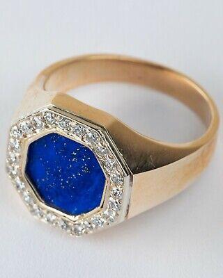 Estate Natural Lapis Lazuli & Diamond Solid 14K Two Tone Gold Mens Ring Two Tone Gold Natural