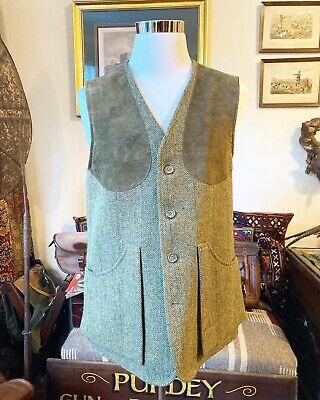 Holland & Holland Men's Green Wool Tweed Shooting Vest, Size M, 42-44R