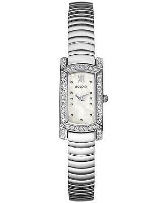Bulova Women's Quartz Crystal Accent Mother of Pearl Dial 18x15mm Watch 96L207