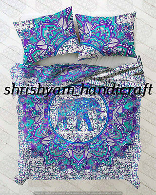 Cotton Duvet Comforter - Indian Elephant Mandala Duvet Cover Hippie Bohemian Cotton Quilt Comforter Cover