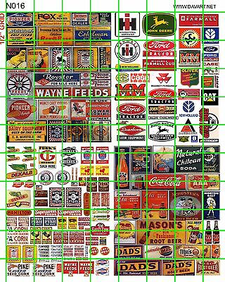 N016 DAVE'S DECALS N SCALE FARM SEED GRAIN RURAL SIGNAGE TRACTOR FARM DECALS SET