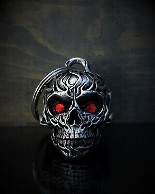 DIAMOND FLAME SKULL Ride Bell guardian to protect against motorcycle gremlins ()