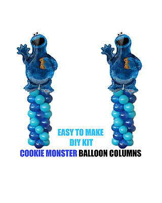 Cookie Monster BIRTHDAY COLUMN Balloons Decoration Cake Gift Table Sesame Street - Cookie Monster Birthday Decorations
