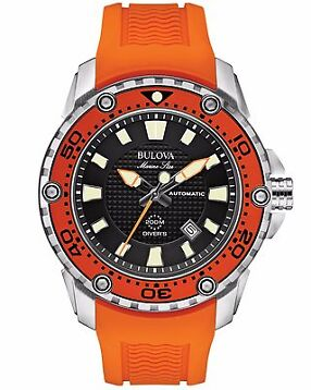 Bulova Men's 98B207 Marine Star Automatic Black Dial Orange Resin Band Watch