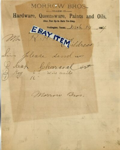 1904 Letterhead MORROW BROS. Wellington Texas PANHANDLE Hardware Queensware Oils