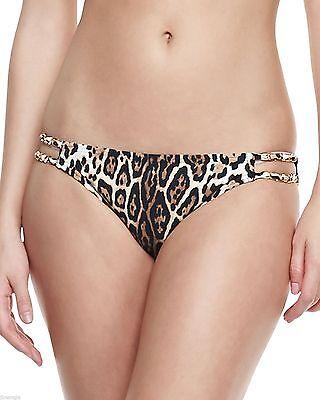 Juicy Couture Leopard Print Double Chain Strap Bikini Swimsuit Bottom L $85 NWT