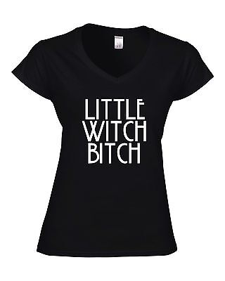 Halloween Ladies Ideas (LITTLE WITCH BITCH Fitted Ladies V-Neck T-Shirt JOKE GIFT FUNNY HALLOWEEN)