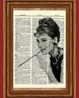 Audrey Hepburn Breakfast at Tiffany's Dictionary Art Print Book Picture Poster