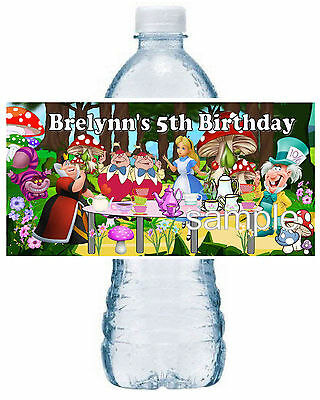 20 ALICE IN WONDERLAND BIRTHDAY PARTY FAVORS WATER BOTTLE LABELS - Bottle Labels