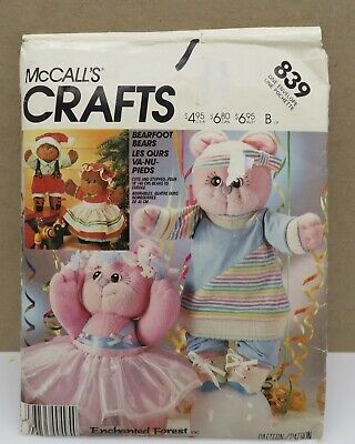 Vintage 1986 McCalls Crafts 839 Bearfoot Teddy Bear & Clothes Pattern - Plus Size Teddy Bear Costume